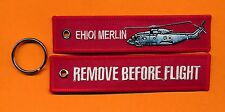 EH101 Merlin Remove Before Flight embroidered key ring/ tag - New