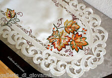 "AUTUMN GLORY 27"" Doily Table Runner Lace Fall  Maple Leaf  Autumn Leaves"