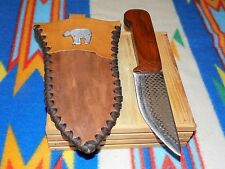 Handmade Hunting Knife with Rasp Blade and Indian Rose Wood Scales  #318