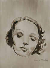 Francis Picabia ink & acrylic drawing 'Marlène Dietrich' ca 1940 - signed & COA
