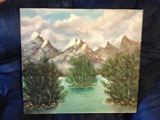 """Nice Original """"River With Mountain Scene"""" Oil On Canvas Painting - Signed"""