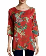 NWT $240 Johnny Was Malakye Dolman-Sleeve Floral Tunic Top Blouse XL Bird Red