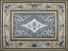 Royal Blue Floral Border Floor Carpet Home Design Marble Mosaic CR880