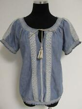 Lucky Brand Light blue denim Embroidered Peasant Tunic Top Small