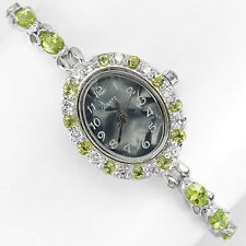 INCREDIBLE NATURAL Top Rich Green PERIDOT Gold Plated STERLING 925 Silver Watch