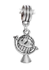 Globe Map Travel World Earth European Dangle Bead for Silver Charm Bracelets