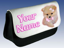 TEACUP POMERANIAN & BOW PERSONALISED LADIES / GIRLS MAKE UP BAG / PENCIL CASE
