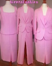 Women's Ladies 4 Piece Pink Suit Skirt Trousers Top Blazer Jacket UK 10 EU 36��