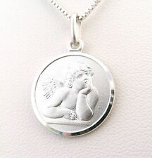 "Funky 925 Sterling Silver 14mm Angel / Cherub  Pendant with 16"" Silver Necklace"