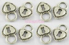 10 Silver Tone Love Heart Key Hole Padlock Charms STEAMPUNK LF NF CF 17.5mm