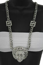 Women Fashion Long Necklace Silver Metal Chains Medusa Goddess Beads Head Charm