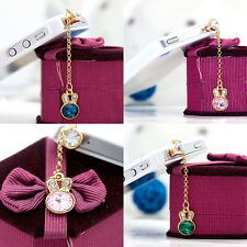 Delicate Rabbit  Crystal Chain Headset Dust Plug Decoration For Phone 3.5MM