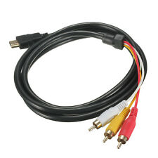 5 Feet 1080P HDTV HDMI Male to 3 RCA Audio Video AV Cable Cord Adapter S#