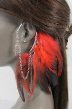 New Trendy Women Summer Fashion Red Feathers Long Over Ear 1 Side Cuff Earring