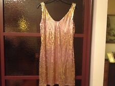 NWT MUCHACHA  EVENING BLUSH  COCTAIL GOLD  METALLIC SEQUIN DRESS  SZ L