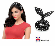 POLKA DOT BLACK WIRED HEADBAND Rockabilly Hand Wrist Neck Scarf Wire Band UK