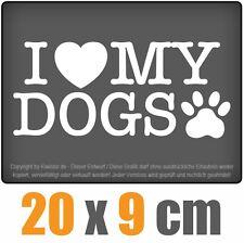I love my dogs 20 x 9 cm JDM Decal Sticker Auto Car Weiß Scheibenaufkleber