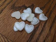 10 x 15MM WHITE HEART PEARL AFFECT PLASTIC FLAT BACK RESIN CENTRES HEADBANDS BOW