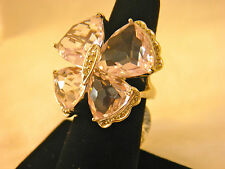 Rose de France Sterling Butterfly Ring 24.00 ct Gemstone Size 9 QVC