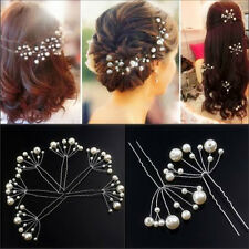 2pcs Women Wedding Bridal Bridesmaid Pearls Hair Pins Clips Comb Headband New