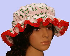 Ladies Victorian Medieval American civil war mop cap holly print red lace