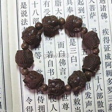 Fragrant Agar wood Carved Gautama Buddha Head Buddhist Prayer Bead Mala Bracelet