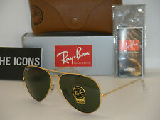 RAY BAN AVIATOR 3025 RB3025 GOLD FRAME W/ GREEN G-15 XLT RB 3025 001 62mm LARGE