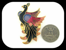VINTAGE PEACOCK MULTICOLOR ENAMEL GOLD PLATED SCARF DRESS CLIP