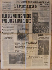 L'Humanité - (28 mars 1962) Soldats tués par l'OAS - Péage autoroutes- Jouhaud