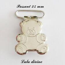1 Pince Ourson, Clip bretelle, Attache tétine sucette doudou passant de 25 mm