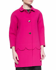 Kate Spade New York Talia Button-Front Coat w/ Scalloped Detail Size:0 $698 NWT