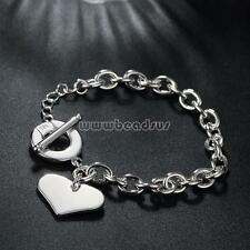 Fashion Women Ladies Real 925 Silver Logo Heart Charm Bracelet Chain Jewelry