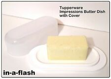 TUPPERWARE White IMPRESSIONS BUTTER DISH Sheer Cover & Snow White Base BPA Free