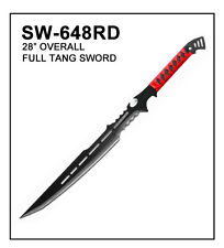 "BRAND NEW 28"" Ninja Fantasy Full Tang Sword Machete Tactical Blade Blk/Red"