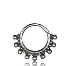 SMALL ORNATE STERLING SILVER 16G AFGHAN DOTS HANGING SEPTUM 9MM RING NOSE HELIX