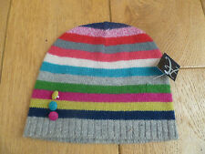 Monsoon Accessorize mélange laine angora rayé bouton Beanie Hat Multicolore