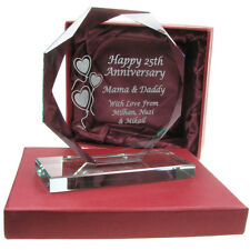 40th Ruby Wedding Anniversary Engraved Cut Glass Gift, Anniversary Gift Idea