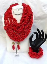 Latest Design Style Red Tone African Beads Bridal Wedding Party Jewelry Set