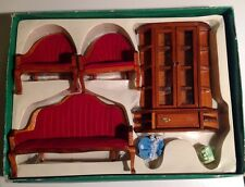 4 Piece Wood Living Room Chairs & China Hutch Doll House Furniture Vtg