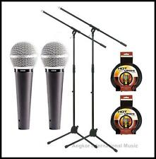 Shure Vocal Microphone with Pro Boom Stand + XLR cables 2 pack Vocal Mic set x 2