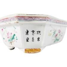 ANTIQUE CHINESE FAMILLE ROSE PORCELAIN PLANTER ENAMELS CALLIGRAPHY SCRIPT