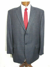 Mens 46R Lineage Wool 2 Button Blue Windowpane Blazer Jacket Sport Coat