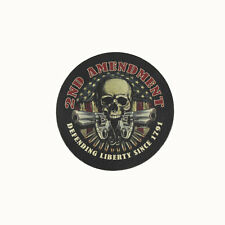 Biker Chopper 2nd Amendment Skull Revolver USA Echt Leder Aufnäher Leather Patch