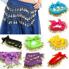 Chiffon Belly Dance Hip Scarf 3 Rows Coin Belt Skirt Wrap Dancing Costume Ware