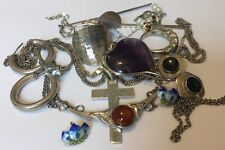 VINTAGE MODERN STERLING SILVER 925 MIXED VARIOUS JEWELRY SCRAP 52 GRAMS LOT