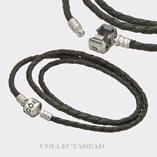 Authentic Pandora Silver Small Triple Black Leather Bracelet  590705CBK-T1 20.7""