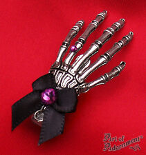 Gothic Punk Silver SKELETON HAND HAIR CLIP Purple Rhinestone Black Bow Metal H75