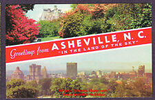 Postcard  GREETINGS FROM ASHEVILLE NC  In the Land of Sky  AERIAL Panoramic View