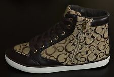 Brand New GUESS Hi Top Signature Fashion Sneakers RAYLEE Beige Women's Size 6.5
