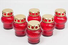 Grablicht, Grablaterne, Grableuchte, Grabkerze 6er Pack, 7,5 x 11,0 cm,rot-gold